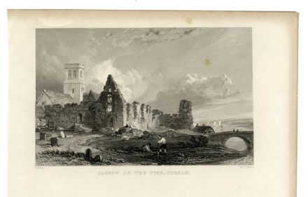1835 Antique Print JARROW Tyne Village Scene ST PAULS MONASTERY CHURCH River Don